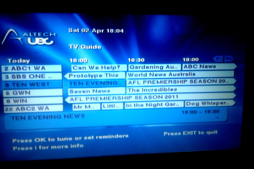 free to air tv guide